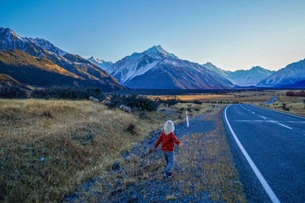 On the way to Hooker Valley Track with the kids.