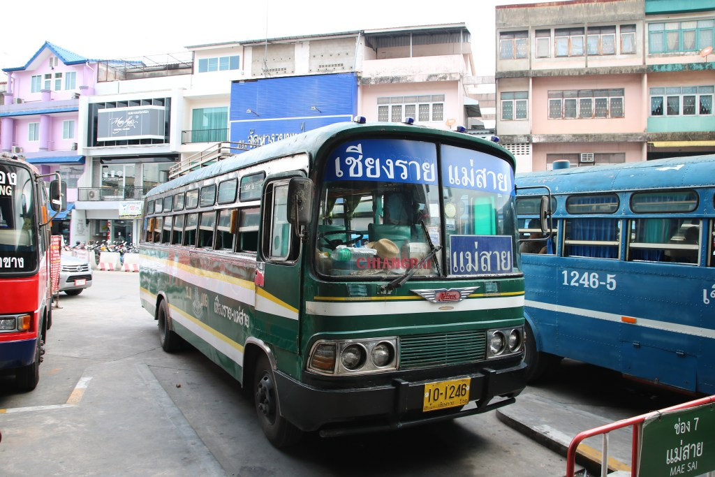Chiang Rai bus station getting a bus to the Mae Sai border crossing to Myanmar.