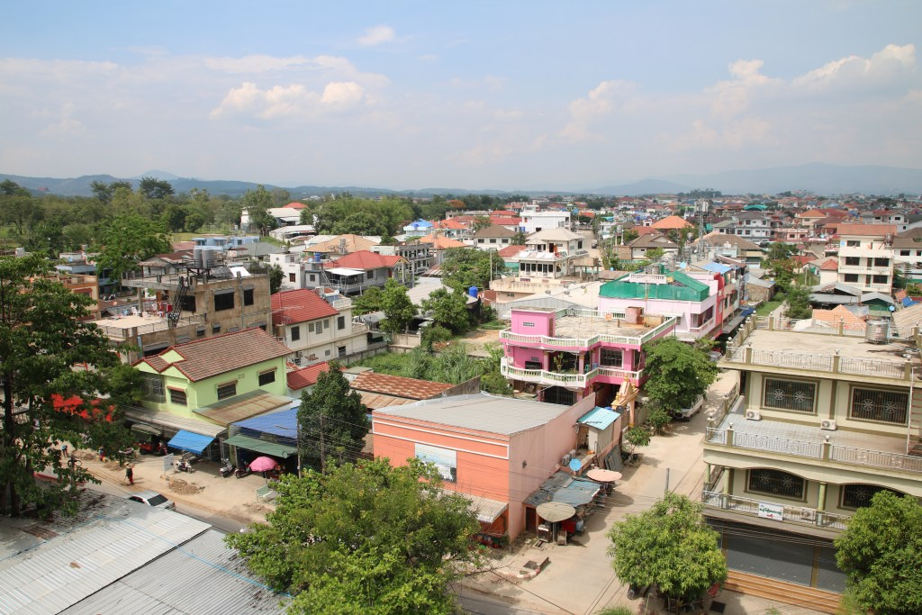 View of Tachileik, Myanmar from our hotel room at Golden Cherry Hotel in Tachileik.