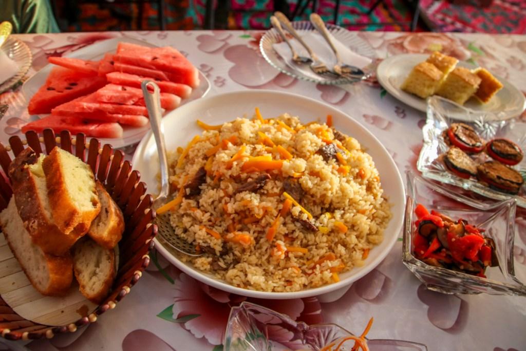A plate of Kyrgyz Plov in Bokonbaevo, Kyrgyzstan. Plov is a staple dish of Kyrgyz cuisine.