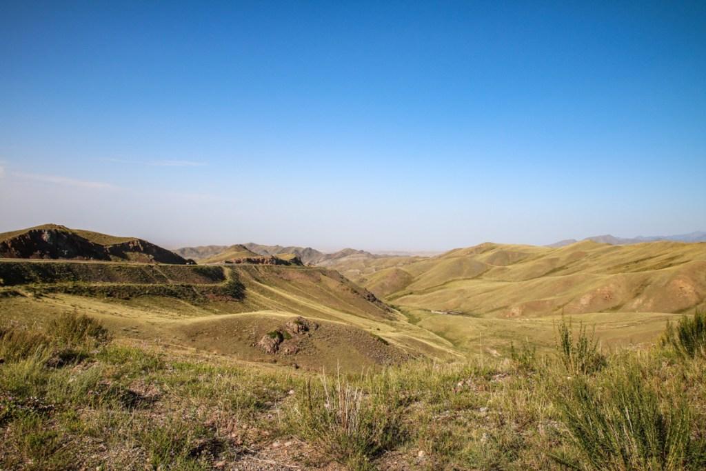 Valleys for miles on theKyrgyz side of the Kegen border crossing.