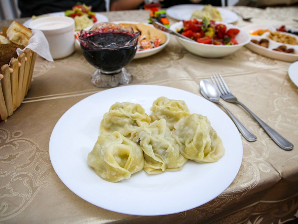 Homecooked manti dumplings. Our favourite dish of Kyrgyz cuisine.