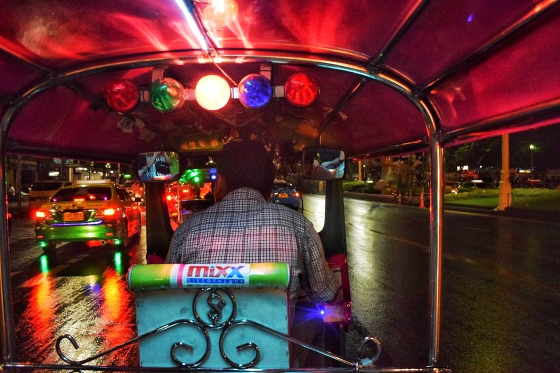 Colorful TukTuk night ride in Bangkok with Thai driver