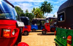 Colorful tuktuks spotted on a solo adventure from Aluthgama to Galle in Sri Lanka