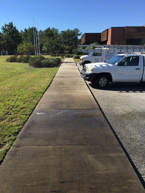 concrete sidewalk pressure washing charleston before