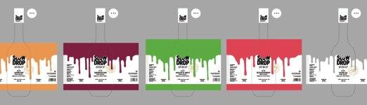 Дизайн бутылок серии сиропов для коктейлей Slow Drop