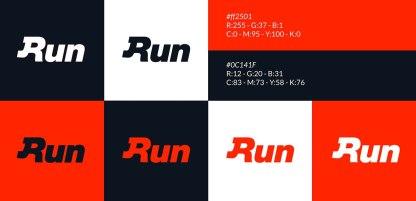 Логотип и стиль спортивной ассоциации Run (Бег, бежать)