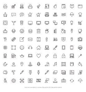 Очередные 5 наборов бесплатных тонких иконок