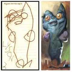 Художник и иллюстратор Дэйв Дэврис (Dave Devries) перерисовывает детские рисунки.