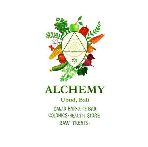 Фирменный стиль Алхимии, кафе сыроедческой кухни на Бали