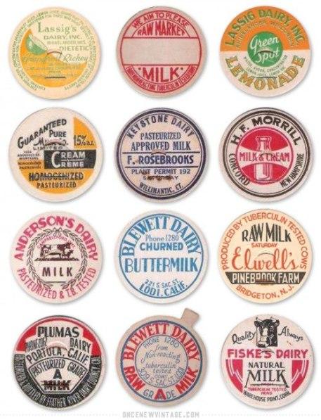 30 винтажных молочных крышечек
