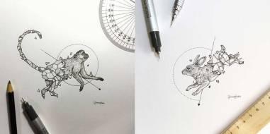 Серия иллюстраций «Геометрические звери»