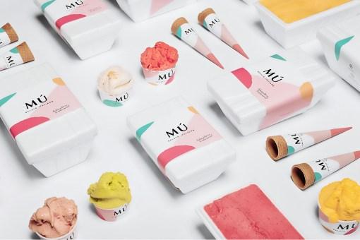Стиль и упаковка итальянского кафе-мороженого Mú (находится в Лиссабоне)