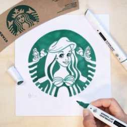 Урсула Даути рисует персонажей Disney и Pixar в стиле логотипа Starbucks