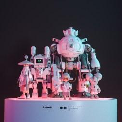 Astrobobi and his firends — детализированные трёхмерные иллюстрации роботов в ярком киберпанковом стиле