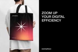 Лаконичный современный ребрендинг платформы для управления цифровым маркетингом Zoomsphere с мягкими градиентами, эффектом матового стекла и аккуратной вёрсткой