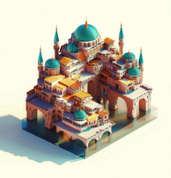 Захватывающие изометрические композиции со сложными архитектурными и природными формами