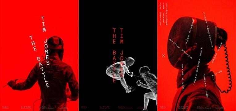 Стиль выставки фотографа Тима Джонса The Battle, посвящённой спортивному фехтованию
