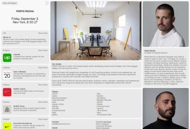 Лаконичное портфолио нью-йоркской дизайн-студии Porto Rocha с нестандартной навигацией и аккуратной системой карточек