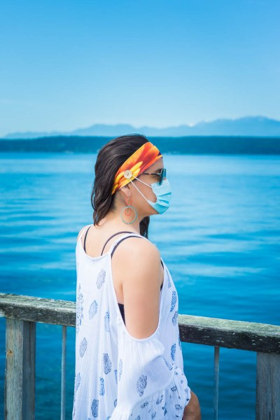 Spanish Shawl (Flabellina iodinea) Headband with Facemask Buttons