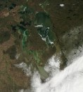 MODIS satellite imagery showing the snow swath through the southern Interlake.