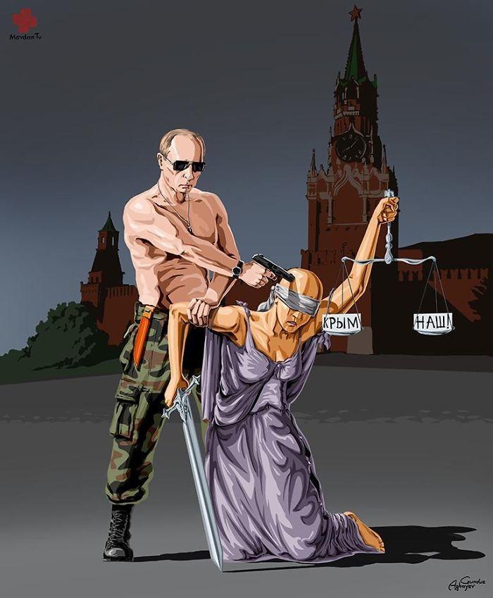 Cartunista retrata como líderes mundiais veem a justiça (15)