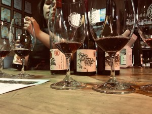glasses of red wine at a tasting at gippsland wine company
