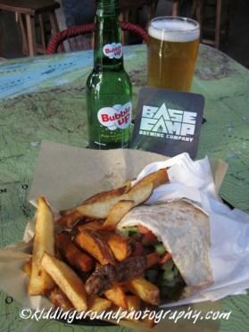 Gonzo falafel, Base Camp ale, & a topo map tabletop!