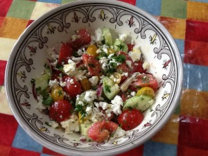 Greek salad, quick and easy to make for a Summer lunch
