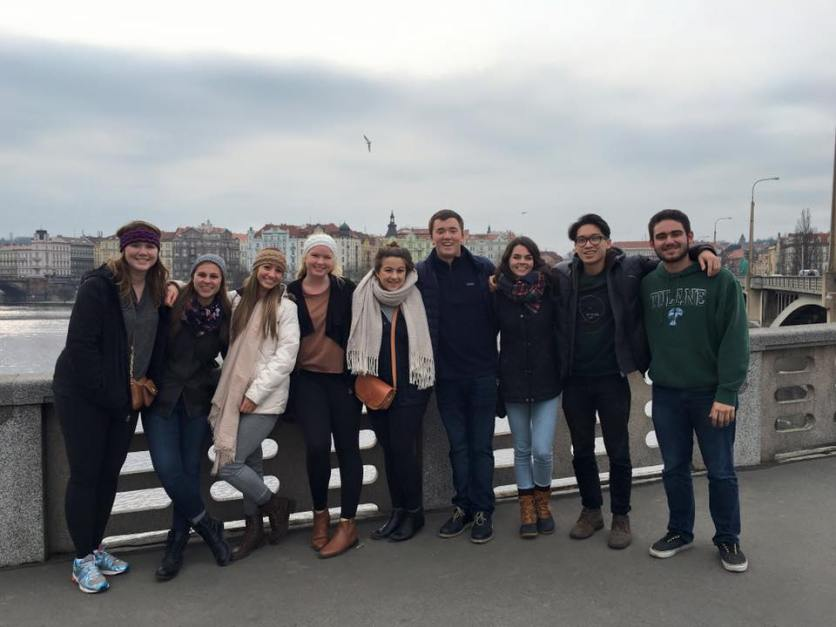 Our group (minus one) along the Vltava River