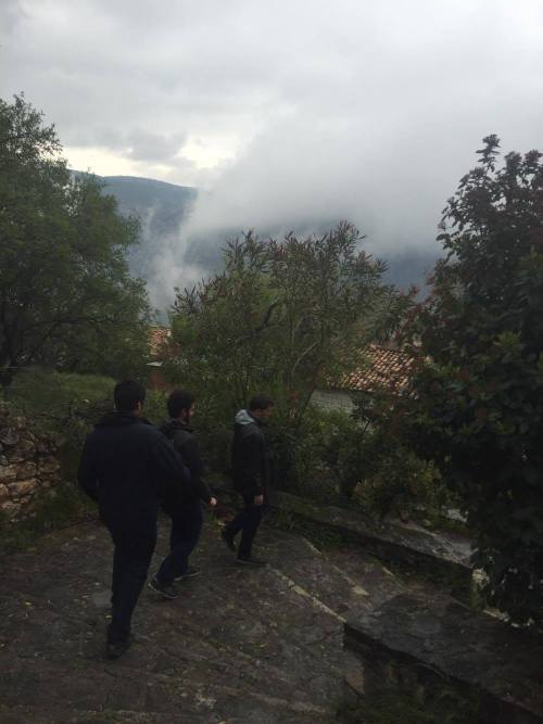 Walking through the town of Delphi where clouds formed before our eyes
