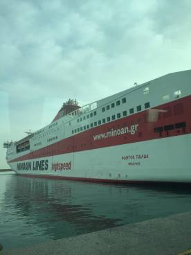 Our large ferry boat that delivered us to Crete