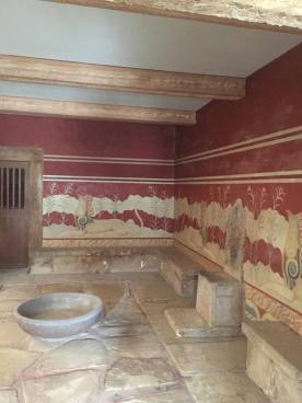 Some of the reconstructed frescoes at Knossos