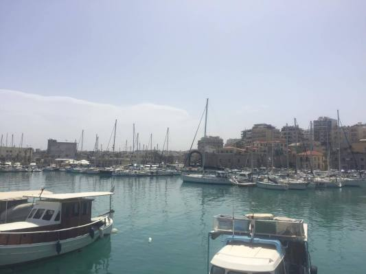 View of the harbor in Heraklio