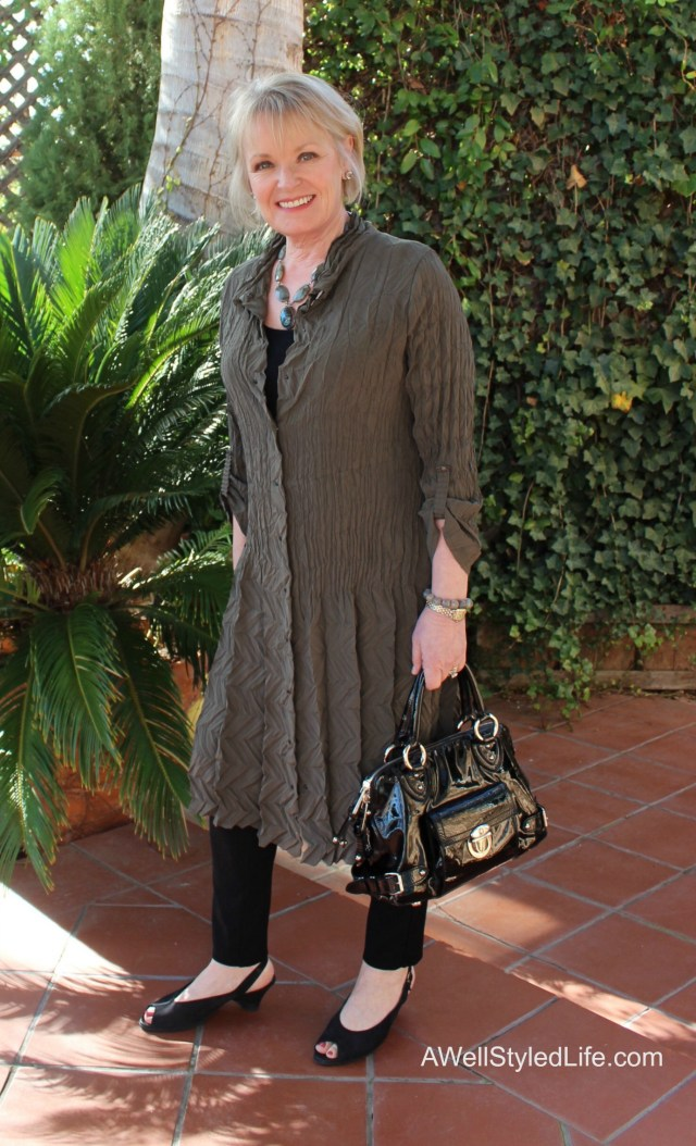 Professional fashion advice for the woman over 50. Tip-wearing texture smooths the appearance of facial skin.