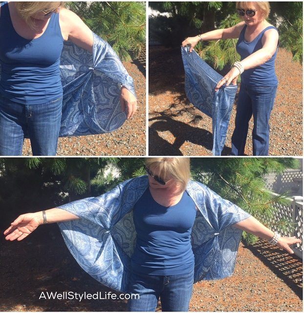 Directions on how to wear a scarf as a tied wrap