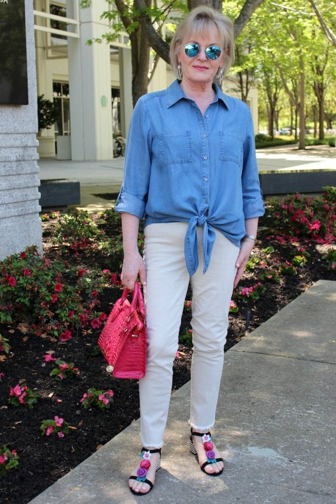 Jennifer Connolly of A Well Styled Life modeling Brahmin Melbourne Anywhere Satchel from Macy's