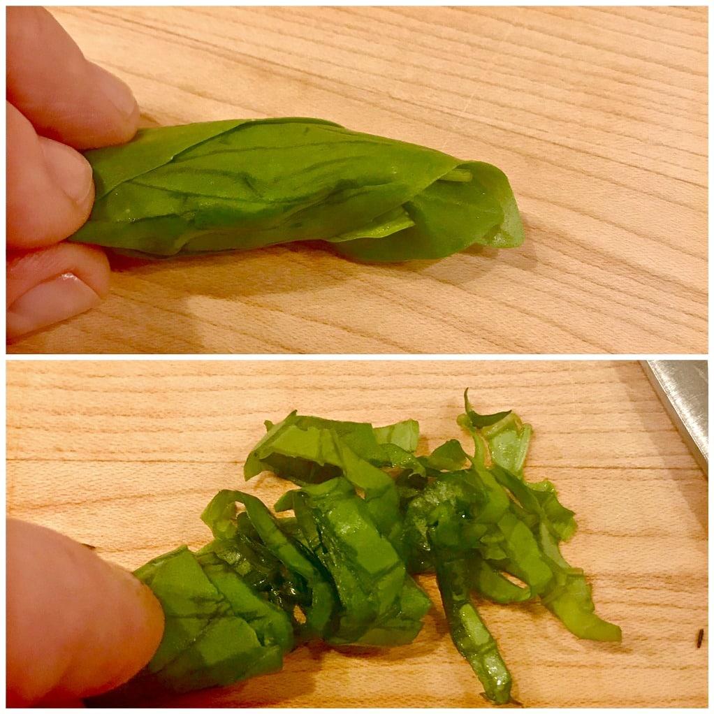 how to Chiffonade basil