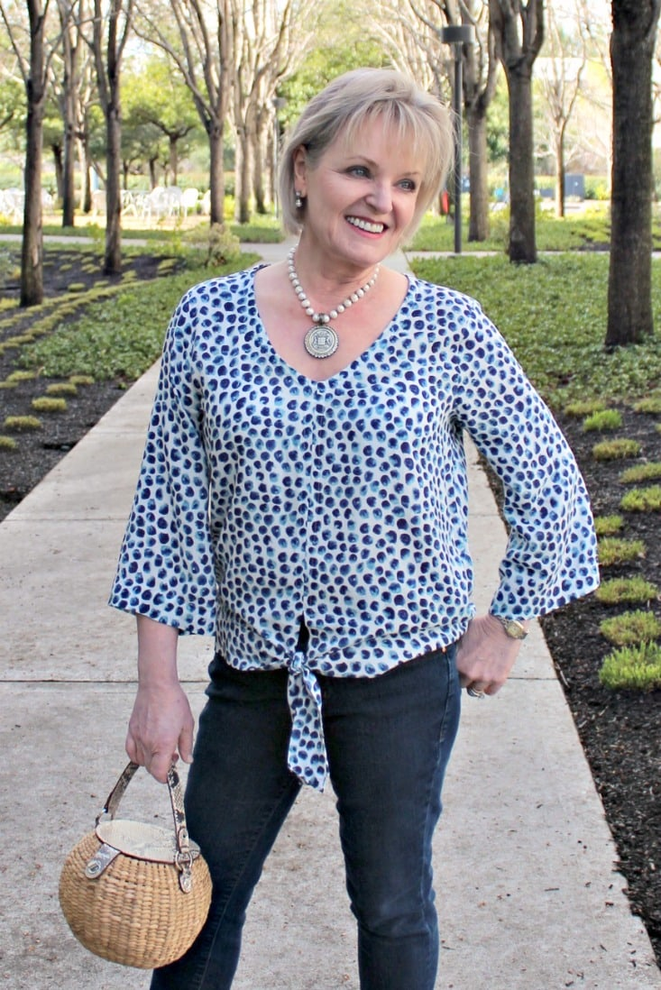 Blue Cheetah Print blouse on Jennifer Connolly of A Well Styled Life