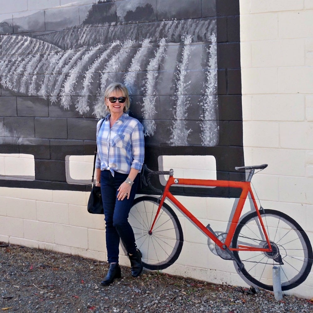 Exploring downton Loomis CA in Hunter Rails plaid from Nordstrom