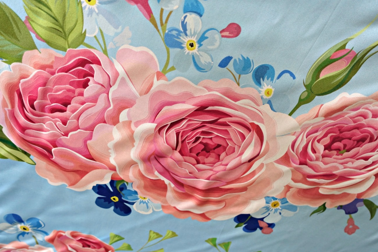 close-up of peony silk scarf from LilySilk