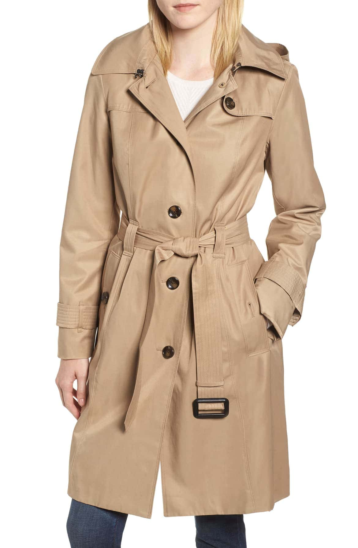 single breasted woman's trench coat