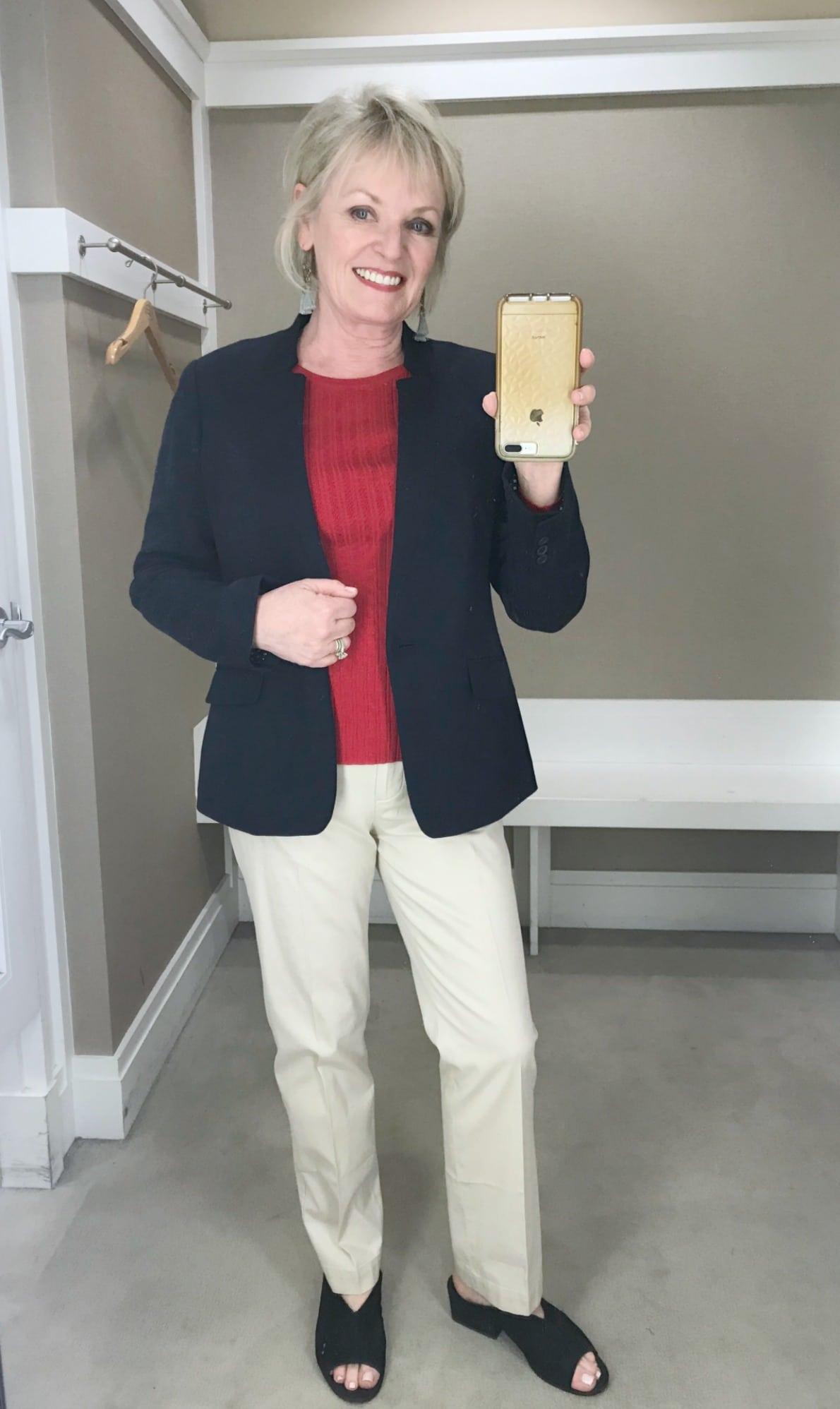 Jennifer of A Well Styled life wearing Talbots classic chino's sweater and blazer