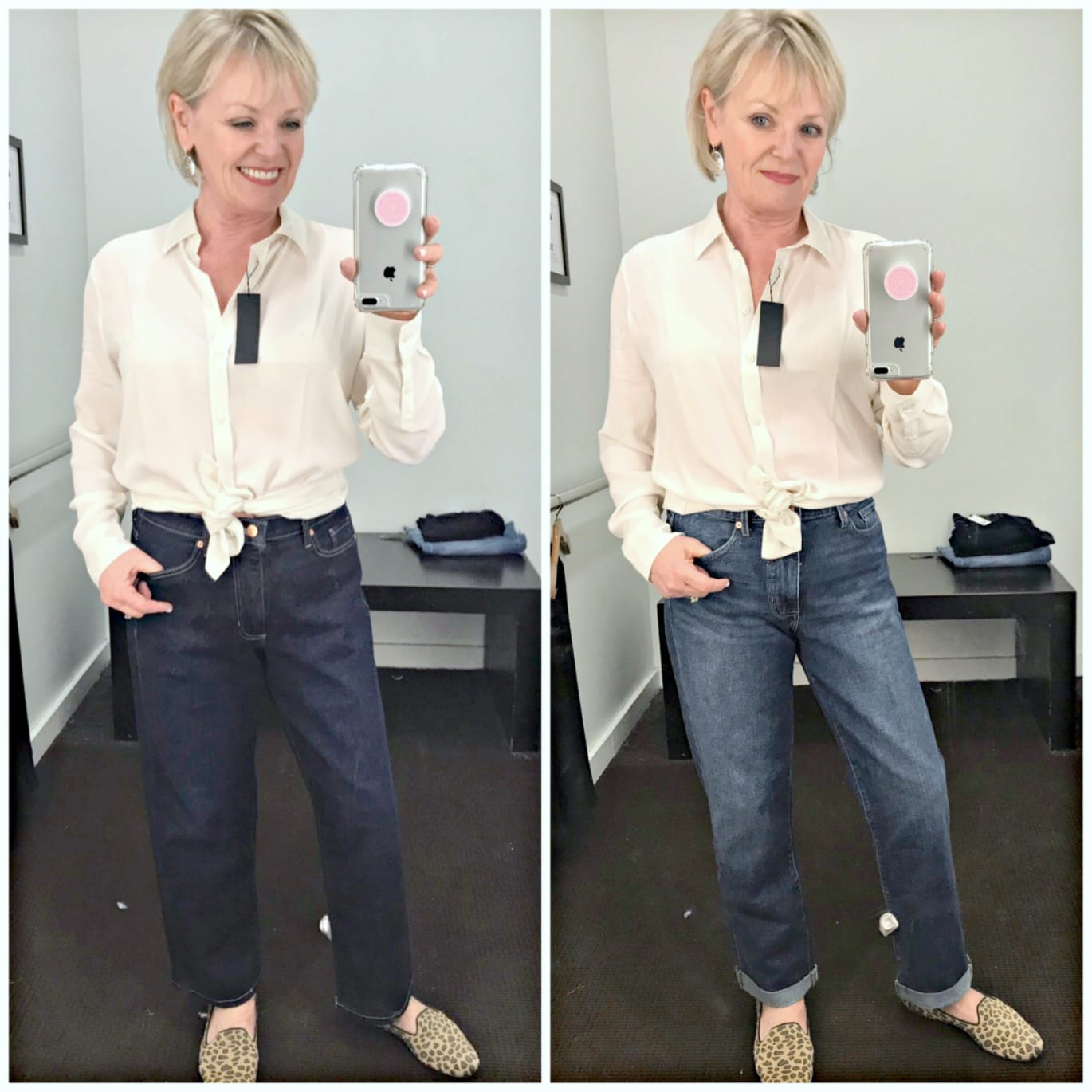 Jennifer Connolly of A Well Styled Life showing two different pairs of blue jeans and ivory blouse from Banana Republic