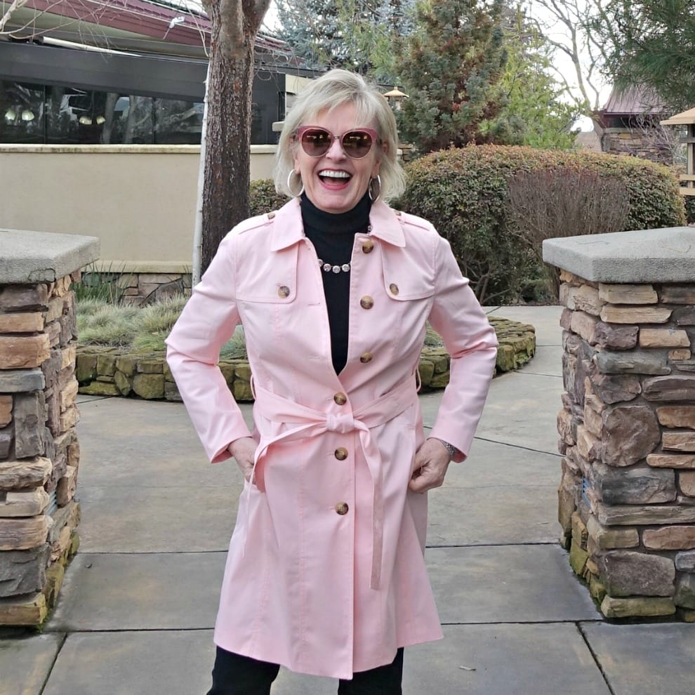 Jennifer Connolly of A Well Styled Life wearing Talbots modern trench in pink