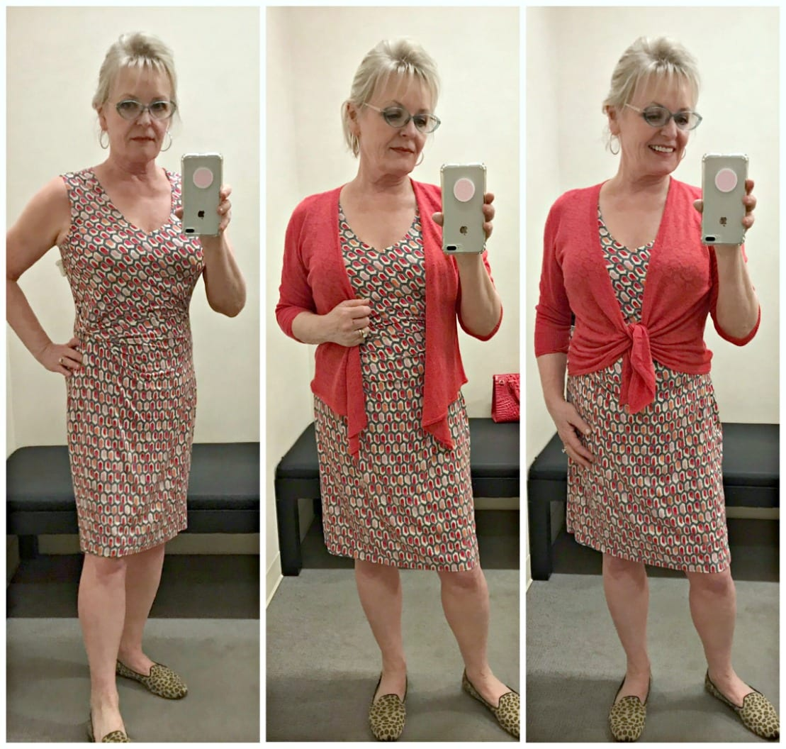 Nic+Zoe floral dress and linen sweater from Nordstrom worn by Jennifer Connolly of A Well Styled Life