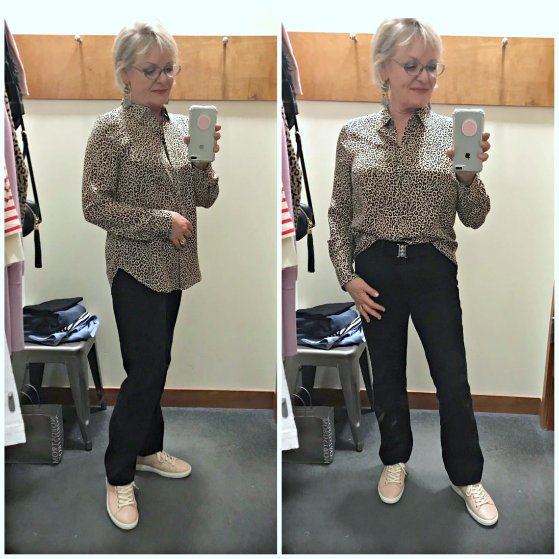 Jennifer of A Well Styled Life wearing silk leopard blouse from J Crew