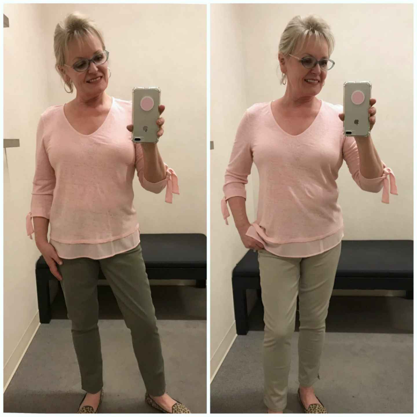 Santuary pink tee over two different colored Wit and Wisdom jeans on over 50 fashion blogger Jennifer Connolly