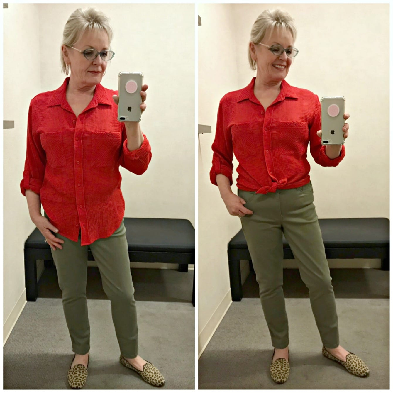 style blogger Jennifer Connolly showing red Santuary boyfriend shirt styled long and tied at the waist over Wit and Wisdom jeans