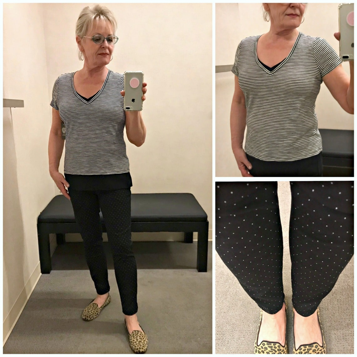 over 50 style blogger shows casual outfit of black and white striped Vince Camuto tee over polka dot Wit and Wisdom jeans